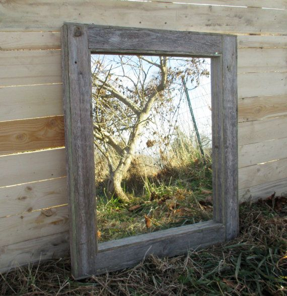reclaimed wood mirror rustic lodge decor bathroom 20112
