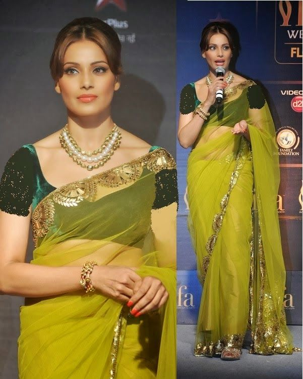 Bollywood Actress Saree Collections: Bipasha Basu In Manish Malhotra Saree At IIFA Press Conference