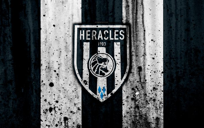 Download wallpapers FC Heracles, 4k, Eredivisie, grunge, logo, soccer, football club, Netherlands, Heracles, art, stone texture, Heracles FC