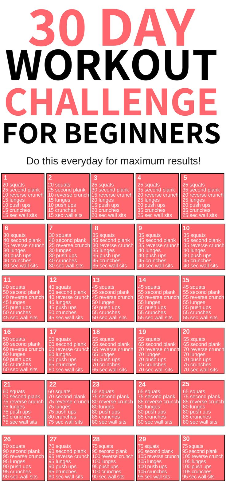 30 Day Workout Challenge Fitness Motivation Cvičen 237
