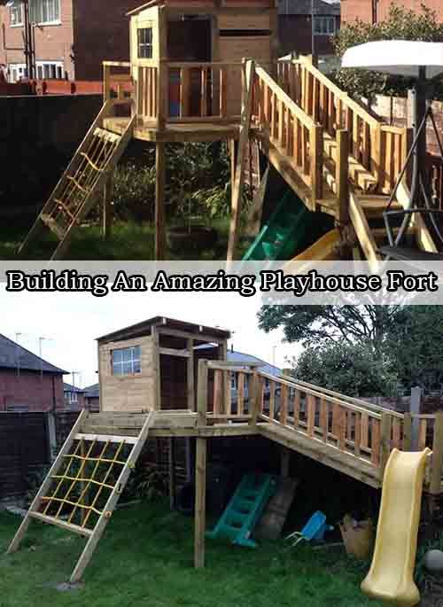 Building An Amazing Playhouse Fort - LivingGreenAndFrugally.com