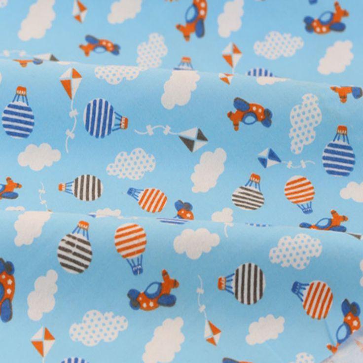 50x110cm Cartoon Plane & Air Balloon 100% Cotton Flannel Fabric for Children Sleepwear Baby Blanket, Pajamas, Brushed Cloth #Affiliate