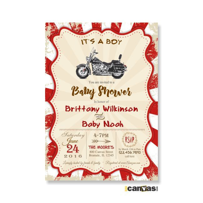 Motorcycle Baby Shower Invitation. Rustic Vintage. Motorbike Theme. Biker, It's a Boy, DiY Printable or Printed with FREE SHIPPING 183 by 800Canvas on Etsy