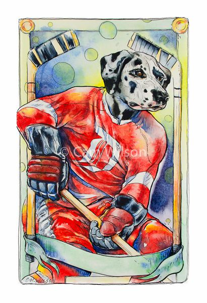 Hockey Dog All Star - Del mation of the Detroit Deisels. Creator - Cam Wilson. Limited Edition Prints available 20%OFF www.oldskullhockey.com