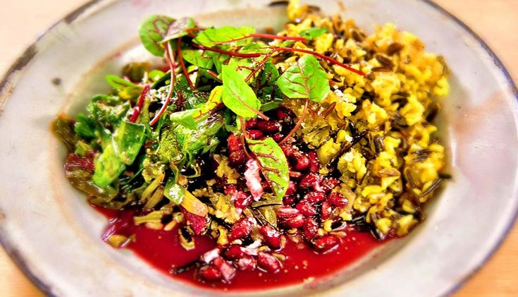 Pomegranate, Yellow Chard, and Wild Rice Salad