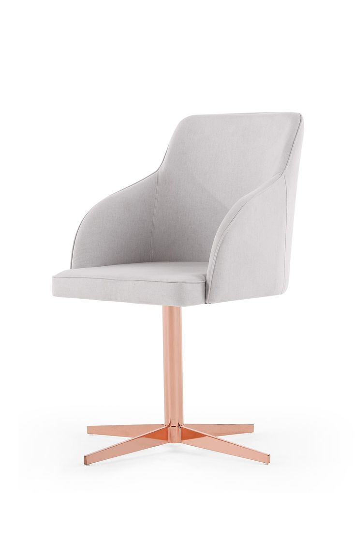 The Keira Office Chair, in Gloud Grey and Copper. Have the most stylish home office around. A collaboration between MADE and Livingetc. £149. MADE.COM
