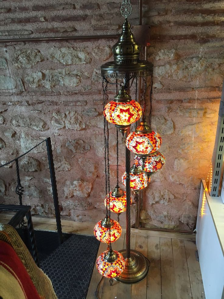 HANDMADE TURKISH MOSAIC FLOOR LAMP, 7 LAMPS, RED