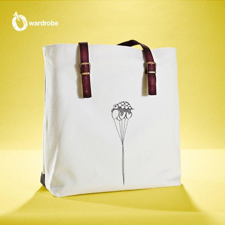 01WARDROBE Autumn/Winter 2013 - White Family Tote Bag Back, Cow Skin Leather Shoulder Straps // %100 Cotton Canvas bag / Printed bag / İllustrated bag / $69