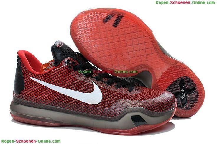 Goedkope Nike Zoom Kobe 10 Low Schoenen Rood/Zwart/Wit Online