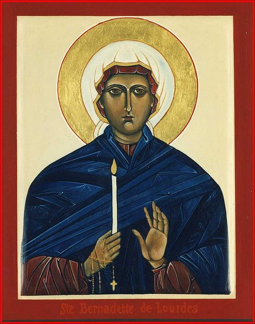 1995 - Icône de sainte Bernardette Soubirous (Lourdes) / Saint Bernadette Soubirous (Lourdes) Icon (main de / hand of : Michèle Lévesque) | Flickr - Photo Sharing!