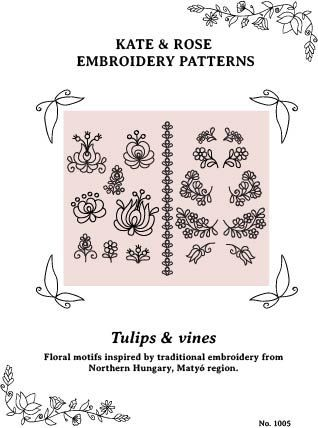 PDF embroidery pattern Matyó floral motifs - Tulips & Vines (last of the Matyó-style patterns for now!)