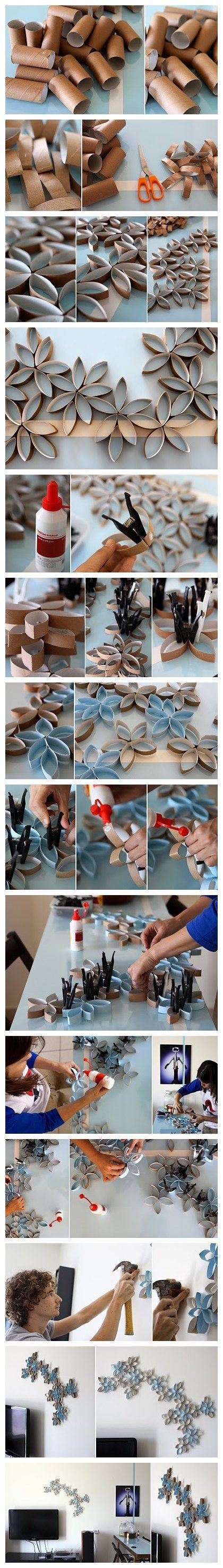 How to DIY toilet paper roll wall art project