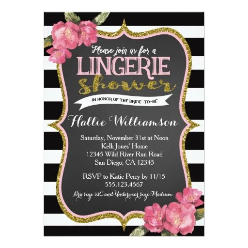 Lingerie Bridal Shower Glam Vintage Gold Black & White Striped Floral Chic Invite Announcements Invitation  #birdalshower #lingerie #glam #gold