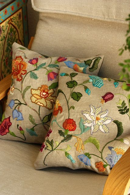 crewel embroidery pillows by mellow_stuff, via Flickr