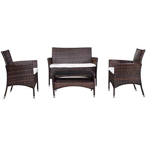 Costway 4PC Garden Rattan Furniture Set Outdoor Patio Wicker Sofa Table & Chairs Brown---109.99---