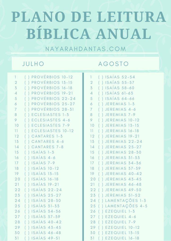 Plano De Leitura Biblica Anual Em 2020 Leituras Biblicas Leitura