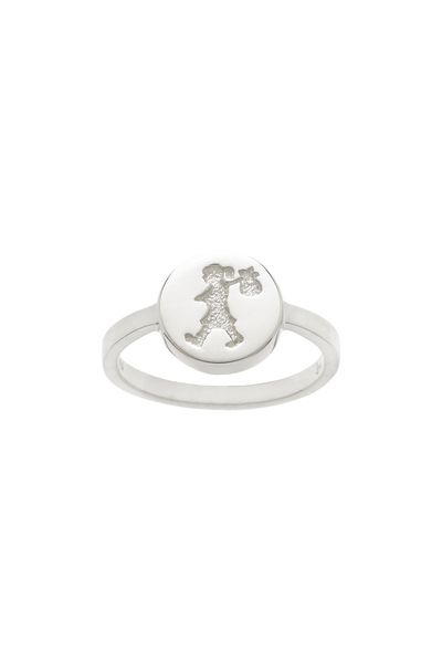 Runaway Stamp Ring Silver Karen Walker fine jewellery rings are available in sizes J to Q. After purchase you will be invited to request a specific size, if desired.