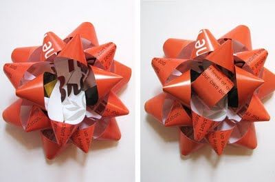 Make a gift bow from a magazine page | How About OrangeCrafts Ideas, Gift Bows, Bows Tutorials, Paper Bows, Gift Ideas, Adhs Glue, Gift Wraps, Magazines, Diy Gifts