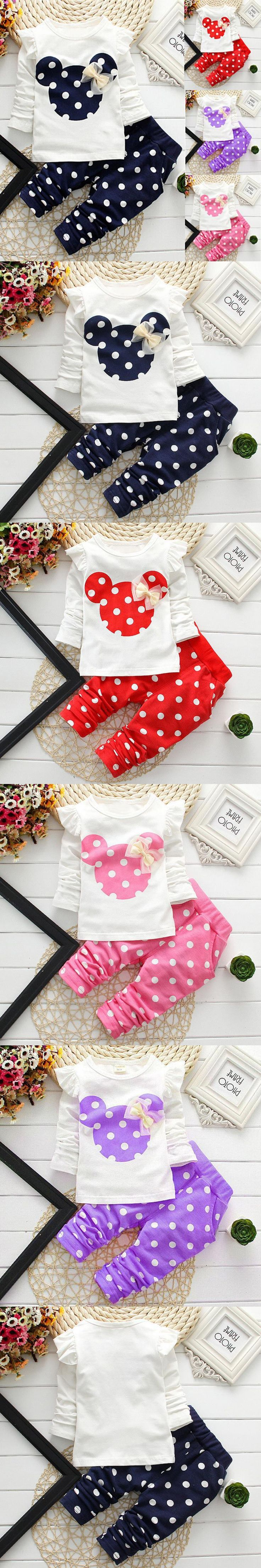 Christmas 2015 winter style kids clothes Newborn baby clothing sets cotton Minnie casual suits 2pcs baby girl clothes baby set