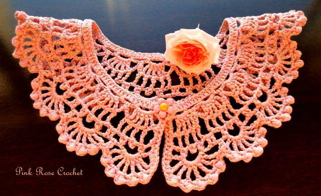 PINK ROSE CROCHET: Collar