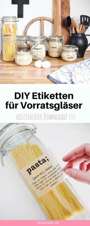 DIY Etiketten für Vorratsgläser zum ausdrucken