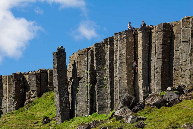 Basalt Columns Iceland : Climbing between columns of basalt rock in gerðuberg