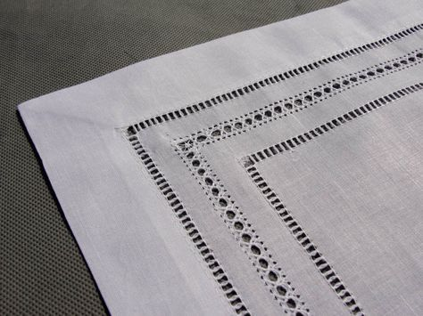 table runner hemstitch pulled thread - Google Search