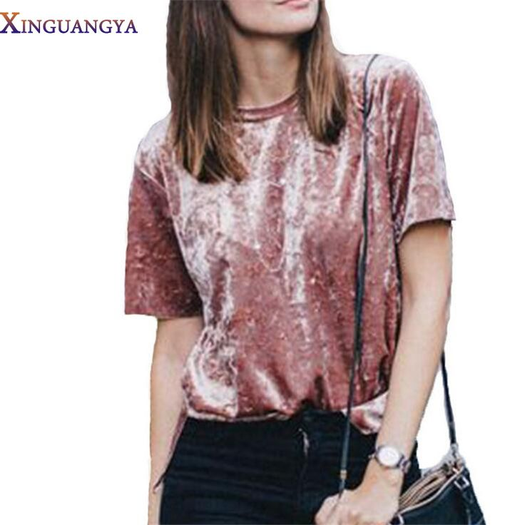 XINGUANGYA 2017 New Summer T-shirt Women's T Shirts Tops Velvet T-shirt Short Sleeve Solid Pink Women Tee Shirts harajuku