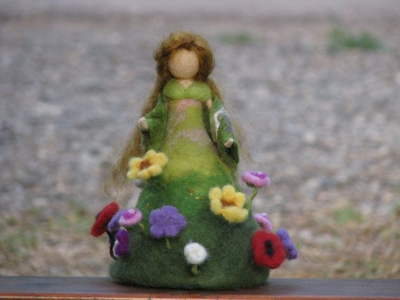 Summer is on its way Needle felted doll Waldorf by Made4uByMagic, $89.00