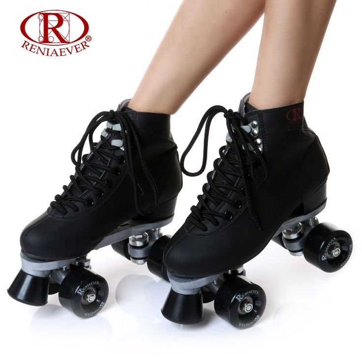 107.00$  Watch now - RENIAEVER Roller Skates Double Line Skates Black Women Female Lady Adult With Black PU 4 Wheels Two line Skating Shoes Patines  #buychinaproducts