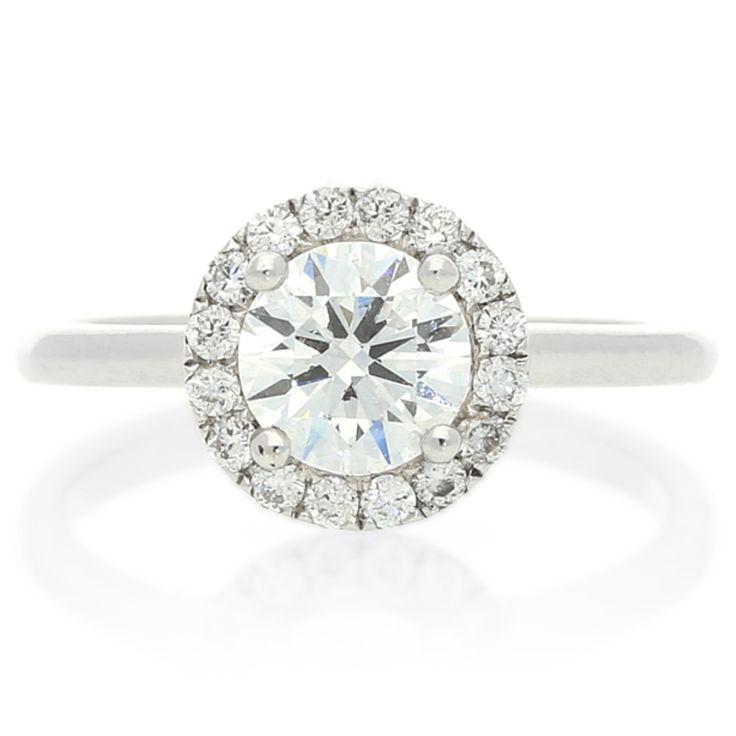 18K White Gold Halo Diamond Ring For Sale by Uwe Koetter.    www.uwekoetter.com