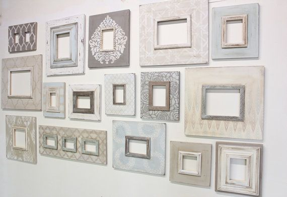 set of 16 cottage chic gallery wall distressed frames blues grays and taupes and vintage white gallery wall soft tones perfect for beach pics - Distressed White Picture Frames