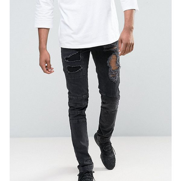 ASOS TALL Skinny Jeans With Biker Zip And Rips Details In Washed Black ($60) ❤ liked on Polyvore featuring men's fashion, men's clothing, men's jeans, black, mens zipper jeans, mens skinny fit jeans, mens destroyed skinny jeans, mens ripped jeans and mens super skinny ripped jeans