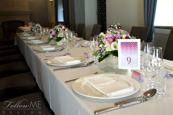 Dekoracje stołu / Karta menu / Winietki / Numery stołów / Różowe dekoracje ślubne od FollowMe DESIGN / Table Decorations / Menu Cards / Wedding Place Card / Table Number / Pink Wedding Decorations & Details by FollowMe DESIGN