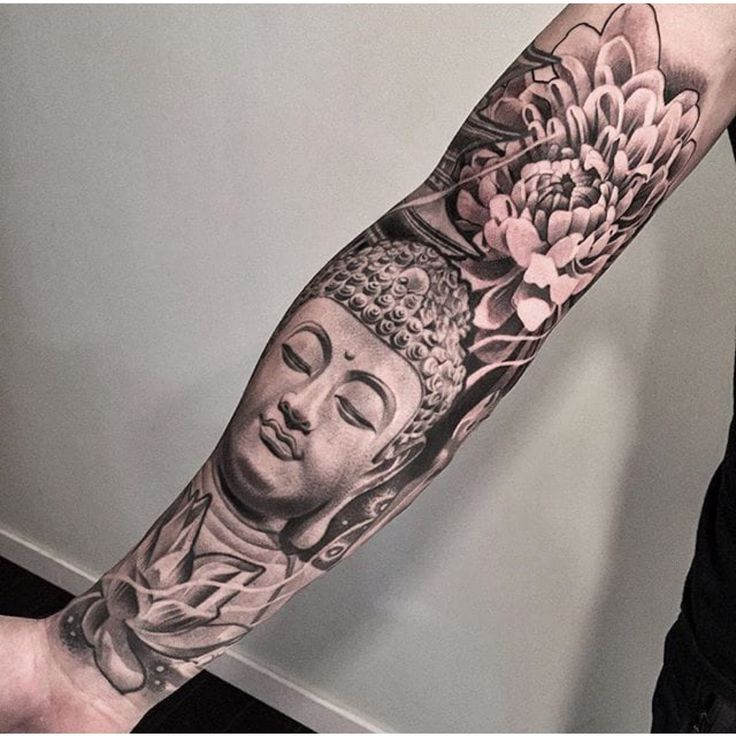 Black and grey buddha tattoo sleeve lotus