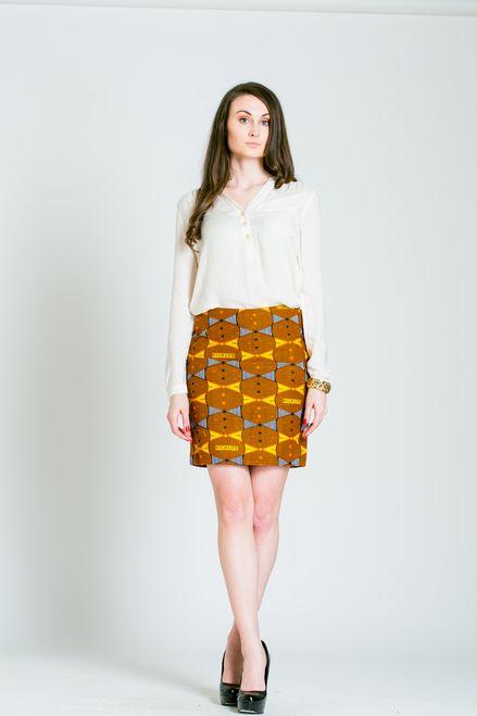 Orange African Print Mid-Length Custom Pencil Skirt