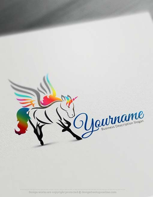 Make your own Free Unicorn Logo Template using the top Logo Creator Free. Use the online logo maker app to create your own wings horse logos.