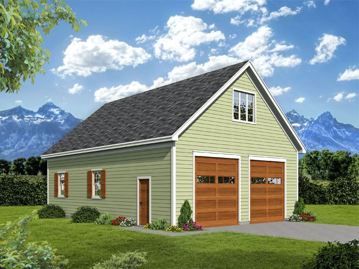 062g 0148 4 Car Garage Plan Offers Two Tandem Bays And A Loft Garage Plans Tandem Garage Shed House Plans