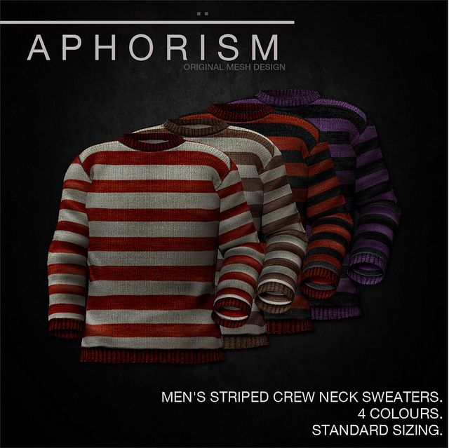 !APHORISM! MENS CREW NECK SWEATERS STRIPED | Flickr - Photo Sharing!
