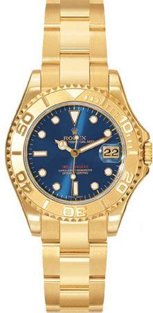 Rolex Yachtmaster Blue Index Dial Oyster Bracelet 18k Yellow Gold Ladies Watch 168628BLSO