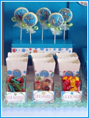 Kids Pool Party Ideas coolest pool party ideas Pool Party Snack Table Pool Noodles Lifesavers Kickboards