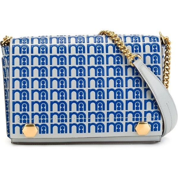 Anya Hindmarch Gold-tone Chain Strap Crossbody Bag (59,550 INR) ❤ liked on Polyvore featuring bags, handbags, shoulder bags, blue handbags, anya hindmarch handbags, crossbody purses, anya hindmarch shoulder bags and crossbody handbags