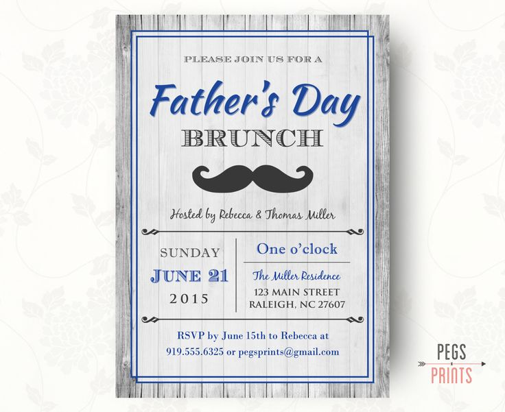 Fathers Day Invitation Printable, Fathers Day Brunch Invitation, Rustic Invitation, DIY Printable, Mustache Birthday Invitation by PegsPrints on Etsy https://www.etsy.com/listing/233532172/fathers-day-invitation-printable-fathers
