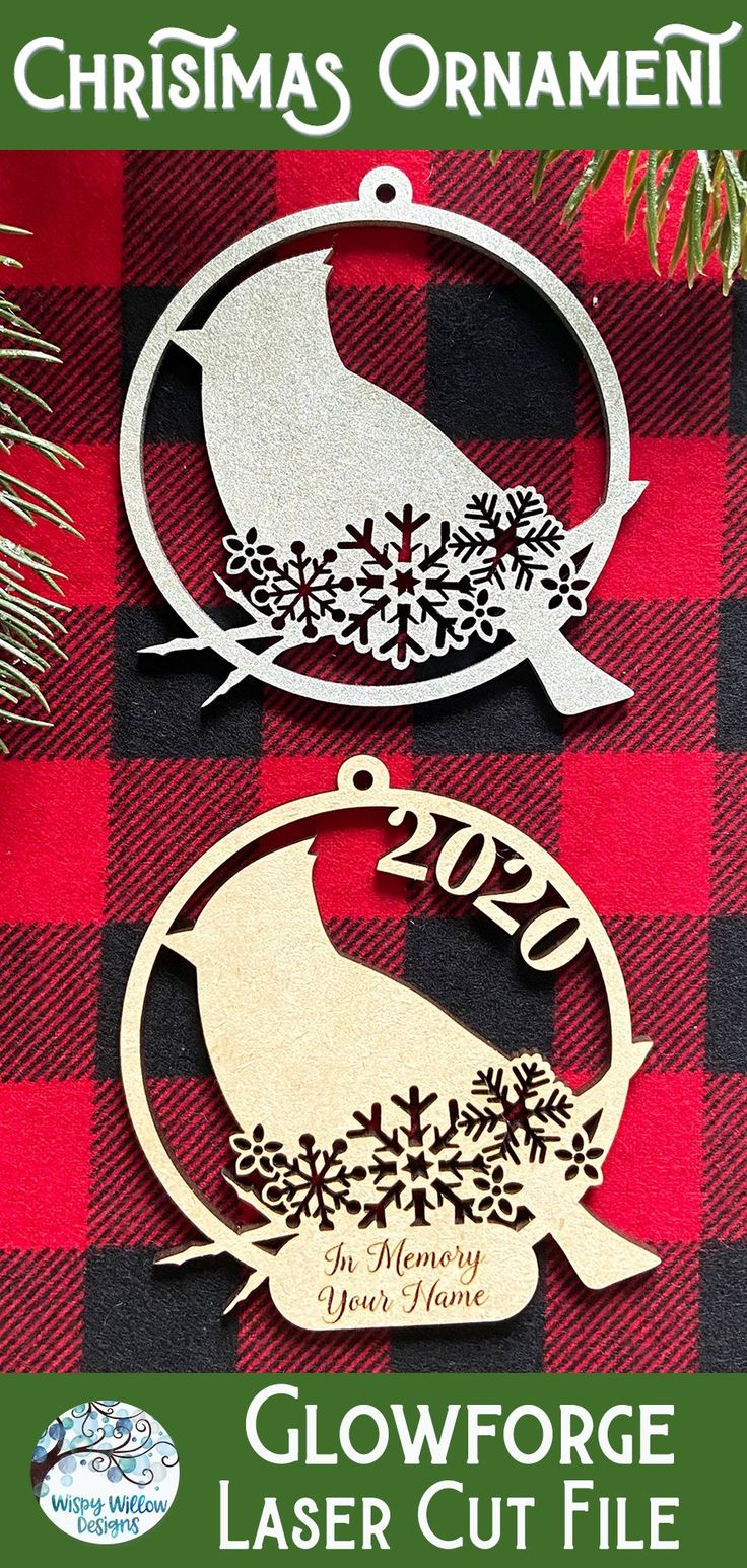 Cardinal Christmas Ornament for or Laser Cutter