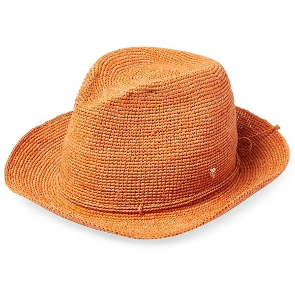 b04481e6e Helen Kaminski Women's Fai Raffia Fedora - Orange ($129) ❤ liked on ...