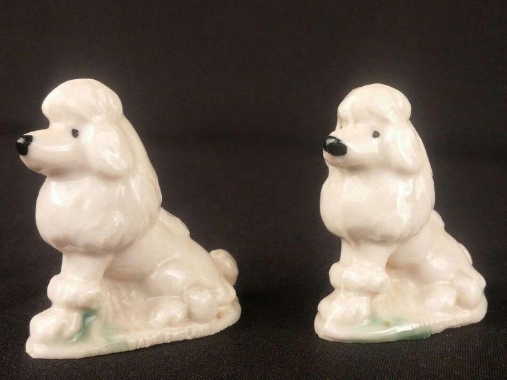 Lot 2 Vintage White Poodles Miniature Figurines Groomed Sitting Grass Ceramic