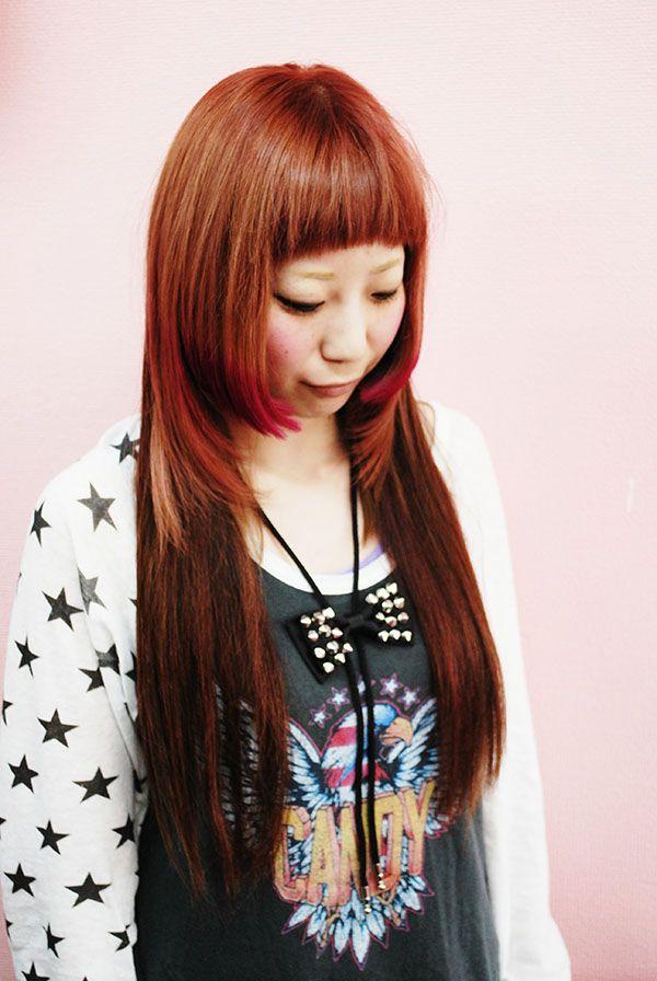 【毛先姫ピンク】CANDYSTRIPPERで働いてるゆみこちゃんです。姫カットと前髪を短くして、元々エクステがついてたんですけど、そこ以外をブリーチしてピンクのカラーをいれて、MANICPANICのピンクを毛先にいれました。