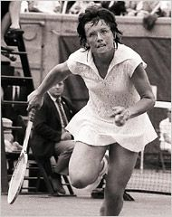 Billie Jean King was a powerful tennis champ when a challenge was issued. The tennis battle of the sexes: Billie Jean King vs. Bobby Riggs. Riggs, a boastful, loud player, set out to trounce the reigning female champ and the world watched. From my college dorm at a predominantly girls' college, Skidmore, we bellowed and cheered as Billie Jean turned the tables on Riggs and won the Battle of the Sexes. Always a gracious champ, and always a tough lady. Billie ruled!