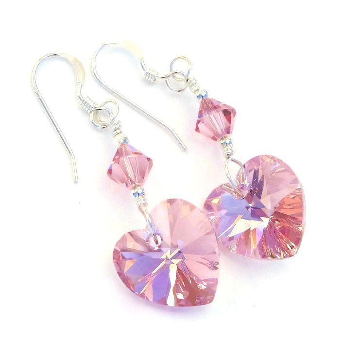 Pink hearts plus super sparkle equals fabulous handmade Valentine's Day earrings!  If you are searching for a sweet pair of heart earrings that will be dearly loved and worn often, you have found them with the one of a kind PERFECTLY PINK beauties.  Just imagine your loved one (or you!) wearing these radiant Valentines earrings!
