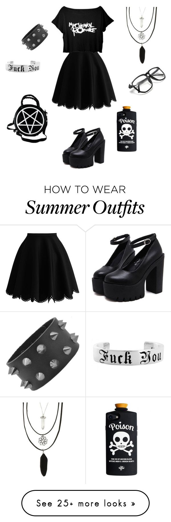 """Summer in black outfit"" by ja-ja-ja on Polyvore featuring Hot Topic"